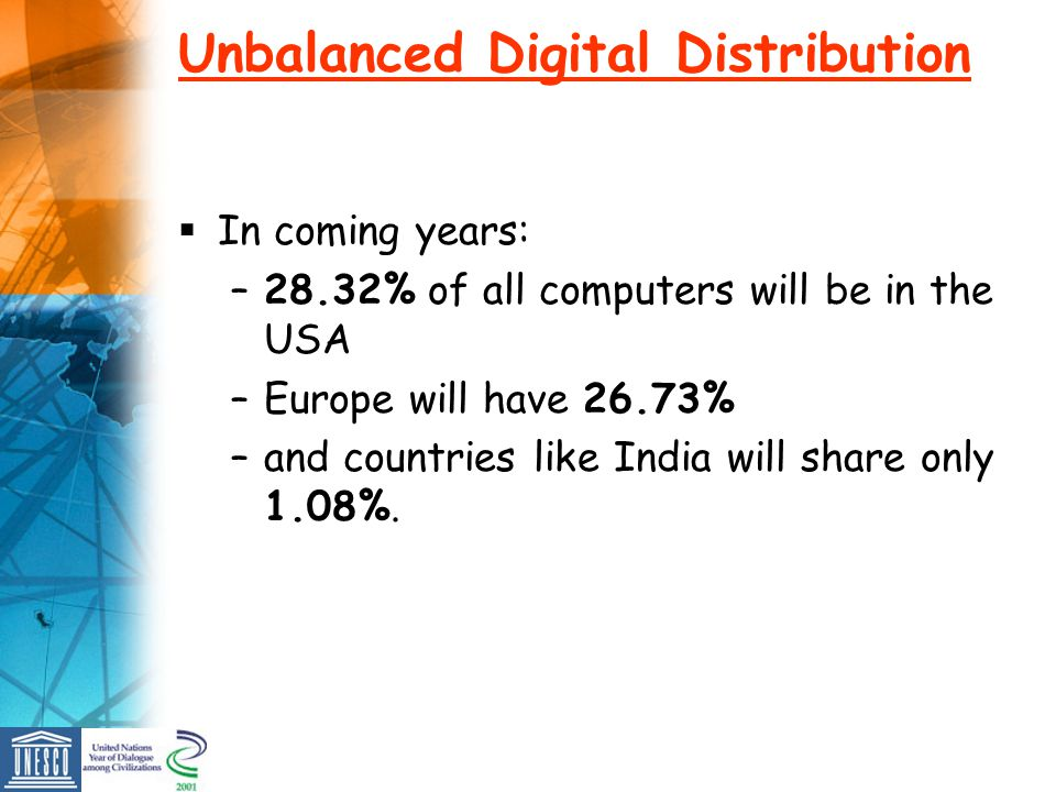 Unbalanced Digital Distribution In coming years: –28.32% of all computers will be in the USA –Europe will have 26.73% –and countries like India will share only 1.08%.