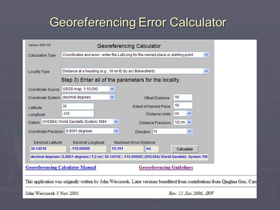 Georeferencing Error Calculator