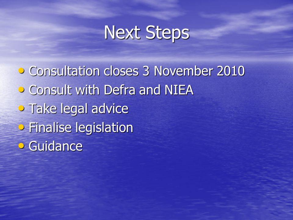 Next Steps Consultation closes 3 November 2010 Consultation closes 3 November 2010 Consult with Defra and NIEA Consult with Defra and NIEA Take legal advice Take legal advice Finalise legislation Finalise legislation Guidance Guidance