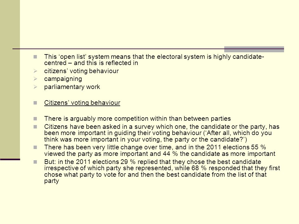 This open list system means that the electoral system is highly candidate- centred – and this is reflected in citizens voting behaviour campaigning parliamentary work Citizens voting behaviour There is arguably more competition within than between parties Citizens have been asked in a survey which one, the candidate or the party, has been more important in guiding their voting behaviour (After all, which do you think was more important in your voting, the party or the candidate?) There has been very little change over time, and in the 2011 elections 55 % viewed the party as more important and 44 % the candidate as more important But: in the 2011 elections 29 % replied that they chose the best candidate irrespective of which party she represented, while 68 % responded that they first chose what party to vote for and then the best candidate from the list of that party
