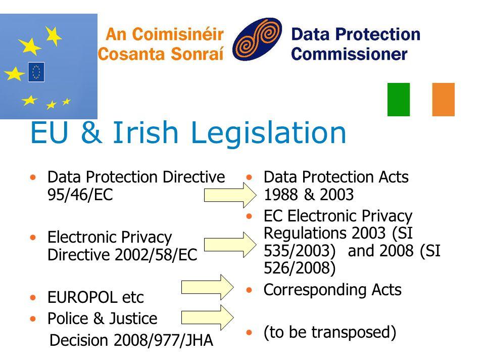 EU & Irish Legislation Data Protection Directive 95/46/EC Electronic Privacy Directive 2002/58/EC EUROPOL etc Police & Justice Decision 2008/977/JHA D