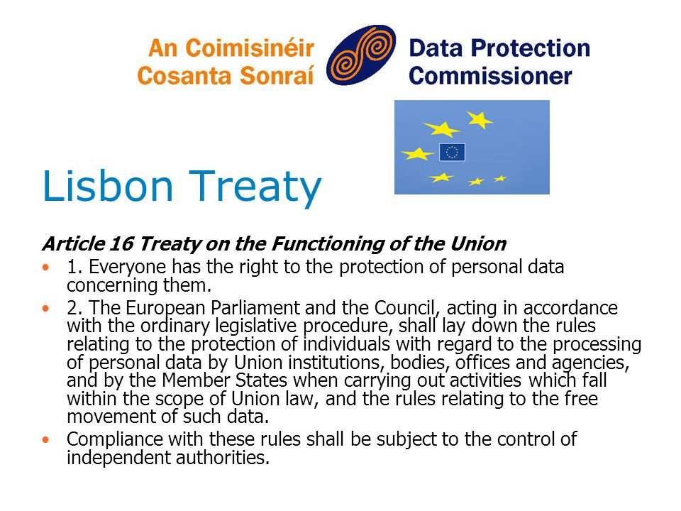 Lisbon Treaty Article 16 Treaty on the Functioning of the Union 1.