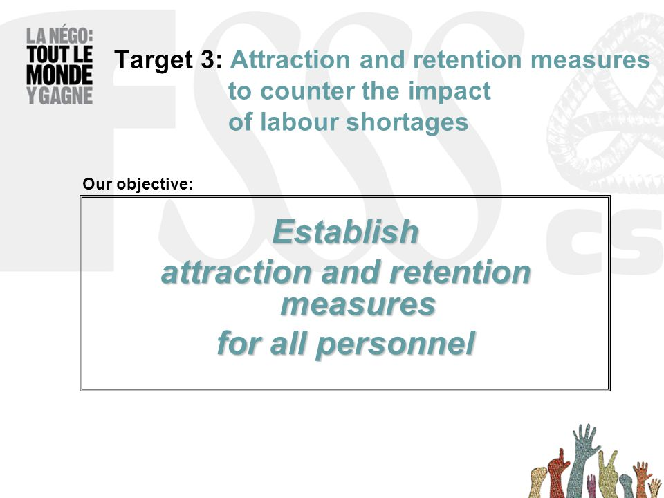 Target 3: Attraction and retention measures to counter the impact of labour shortages Establish attraction and retention measures for all personnel Our objective: