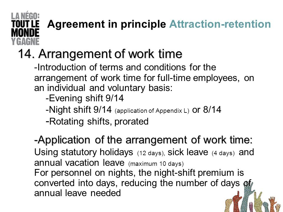 14. Arrangement of work time -Introduction of terms and conditions for the arrangement of work time for full-time employees, on an individual and volu
