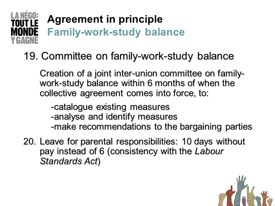 Agreement in principle Family-work-study balance 19.