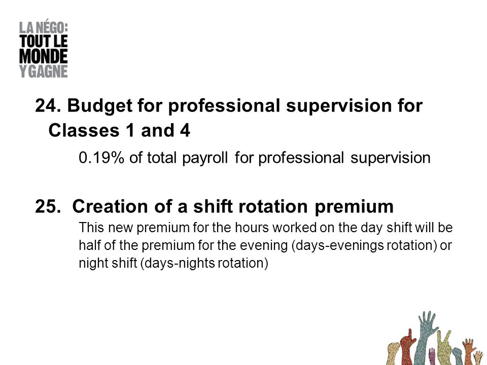 24. Budget for professional supervision for Classes 1 and 4 0.19% of total payroll for professional supervision 25. Creation of a shift rotation premi