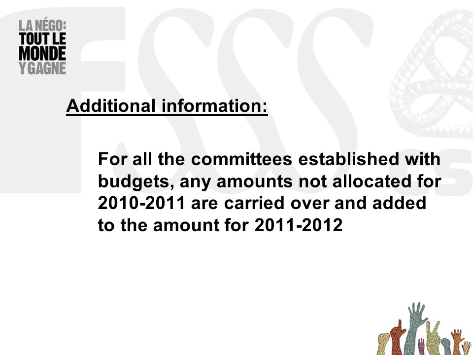 Additional information: For all the committees established with budgets, any amounts not allocated for 2010-2011 are carried over and added to the amount for 2011-2012