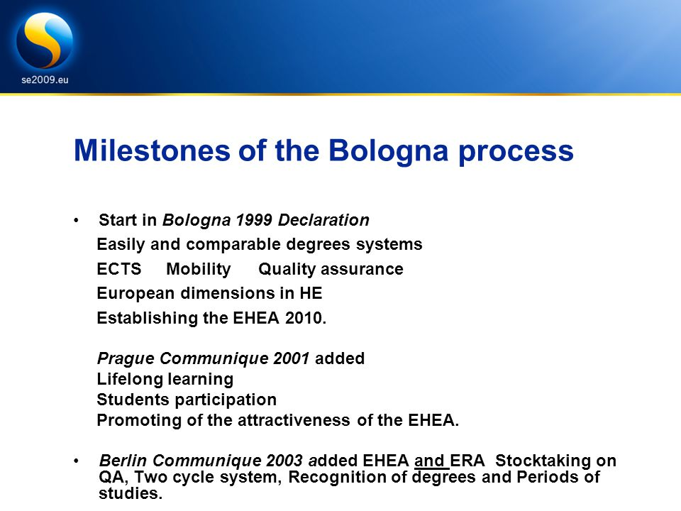 Milestones of the Bologna process Start in Bologna 1999 Declaration Easily and comparable degrees systems ECTS Mobility Quality assurance European dimensions in HE Establishing the EHEA 2010.