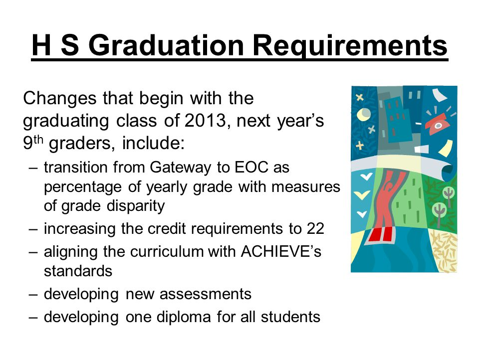H S Graduation Requirements Changes that begin with the graduating class of 2013, next years 9 th graders, include: –transition from Gateway to EOC as percentage of yearly grade with measures of grade disparity –increasing the credit requirements to 22 –aligning the curriculum with ACHIEVEs standards –developing new assessments –developing one diploma for all students