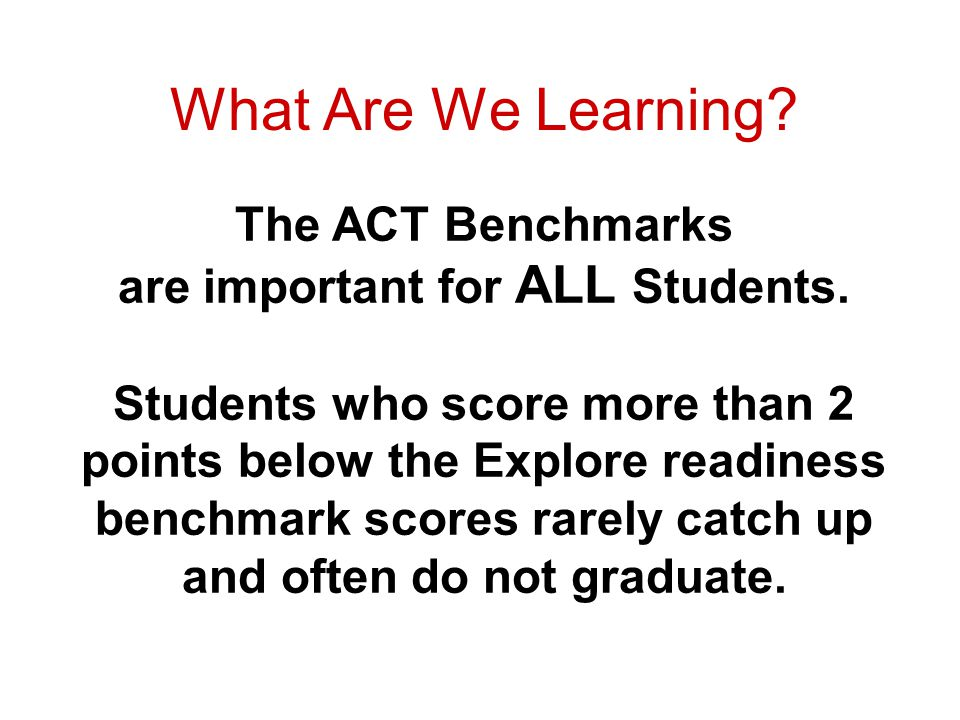 What Are We Learning. The ACT Benchmarks are important for ALL Students.