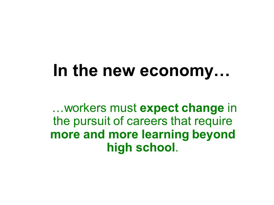 In the new economy… …workers must expect change in the pursuit of careers that require more and more learning beyond high school.