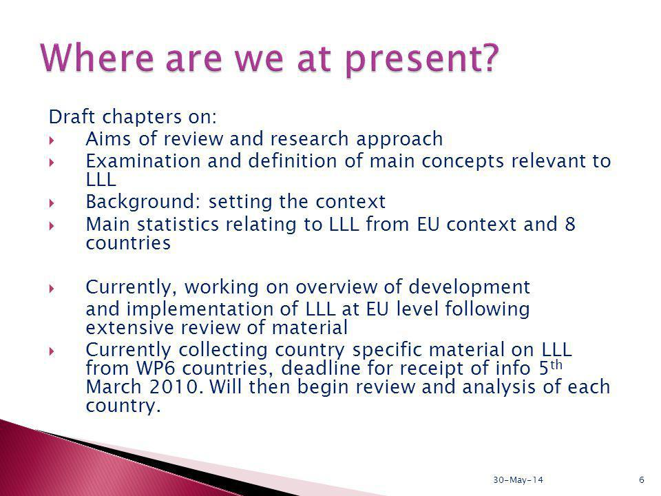 Draft chapters on: Aims of review and research approach Examination and definition of main concepts relevant to LLL Background: setting the context Main statistics relating to LLL from EU context and 8 countries Currently, working on overview of development and implementation of LLL at EU level following extensive review of material Currently collecting country specific material on LLL from WP6 countries, deadline for receipt of info 5 th March 2010.