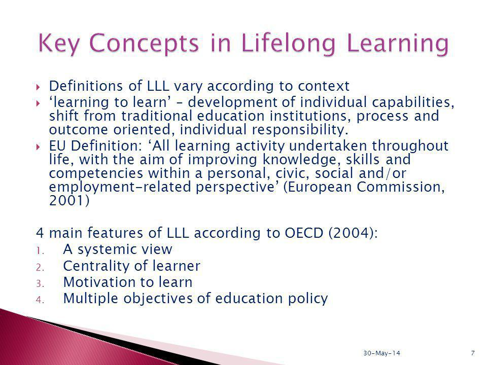 Definitions of LLL vary according to context learning to learn – development of individual capabilities, shift from traditional education institutions, process and outcome oriented, individual responsibility.