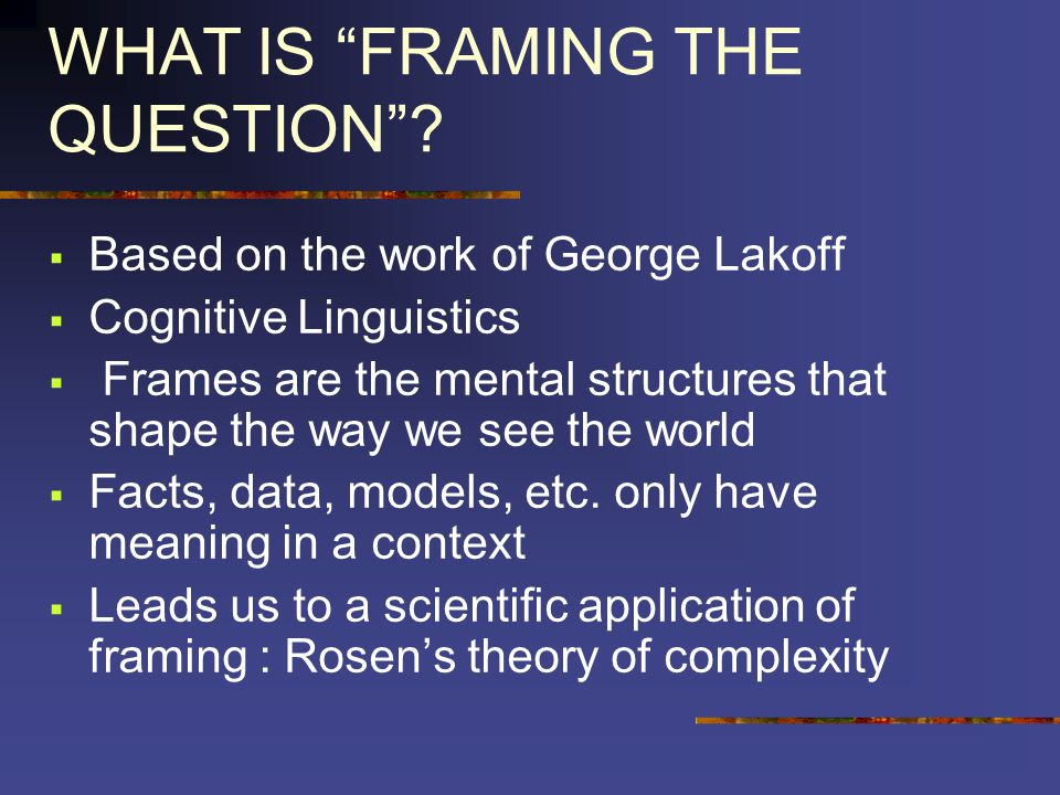 WHAT IS FRAMING THE QUESTION.
