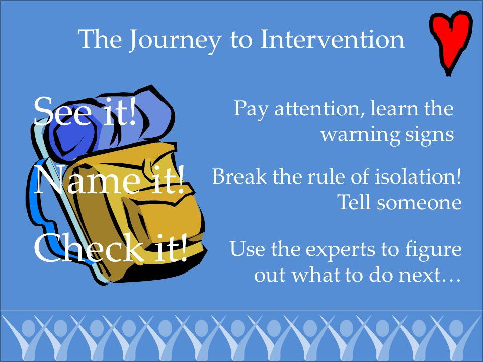The Journey to Intervention Name it! Pay attention, learn the warning signs Break the rule of isolation! Tell someone Use the experts to figure out wh