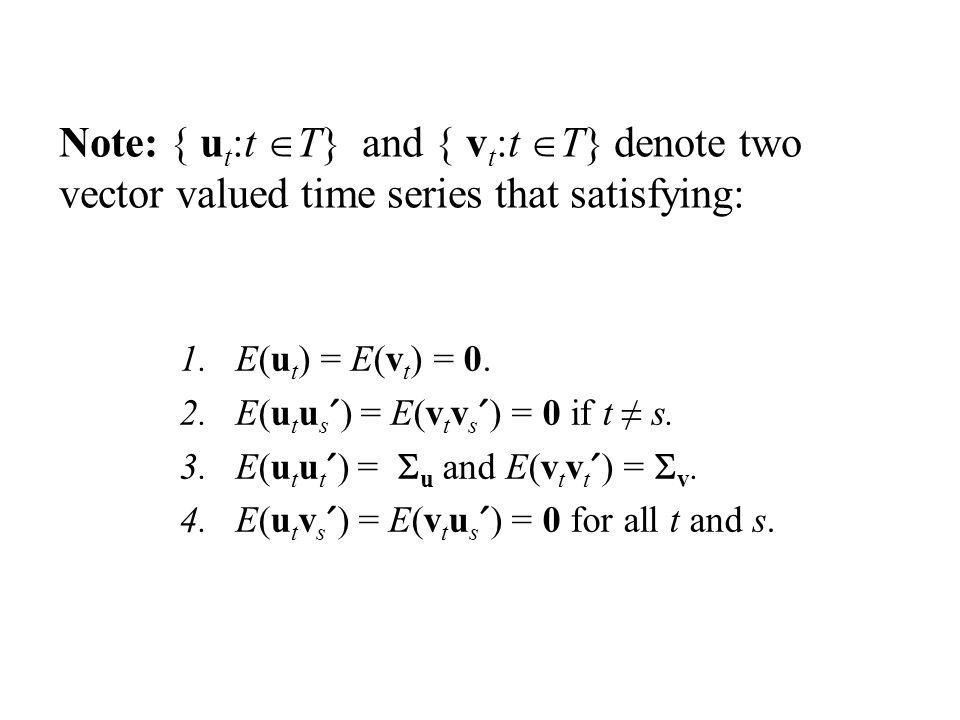 Note: { u t :t T} and { v t :t T} denote two vector valued time series that satisfying: 1.E(u t ) = E(v t ) = 0.