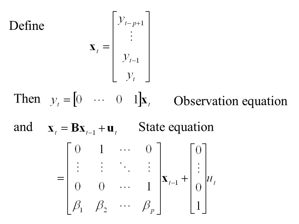 We are now interested in determining the state vector x t in terms of some or all of the observation vectors y 1, y 2, y 3, …, y T.