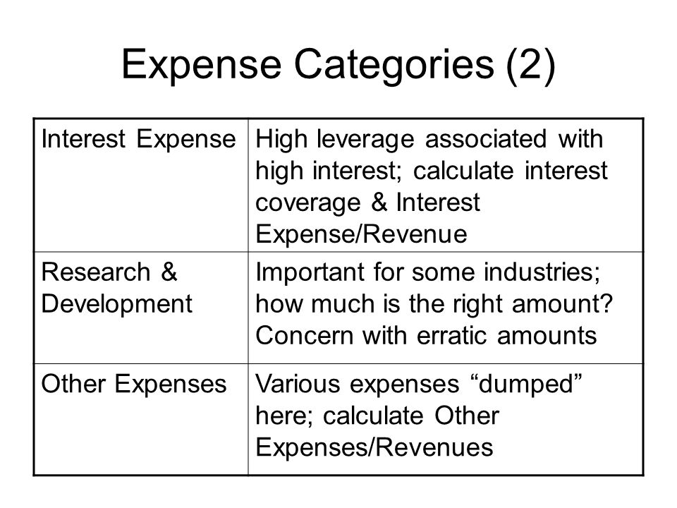Expense Categories (2) Interest ExpenseHigh leverage associated with high interest; calculate interest coverage & Interest Expense/Revenue Research &