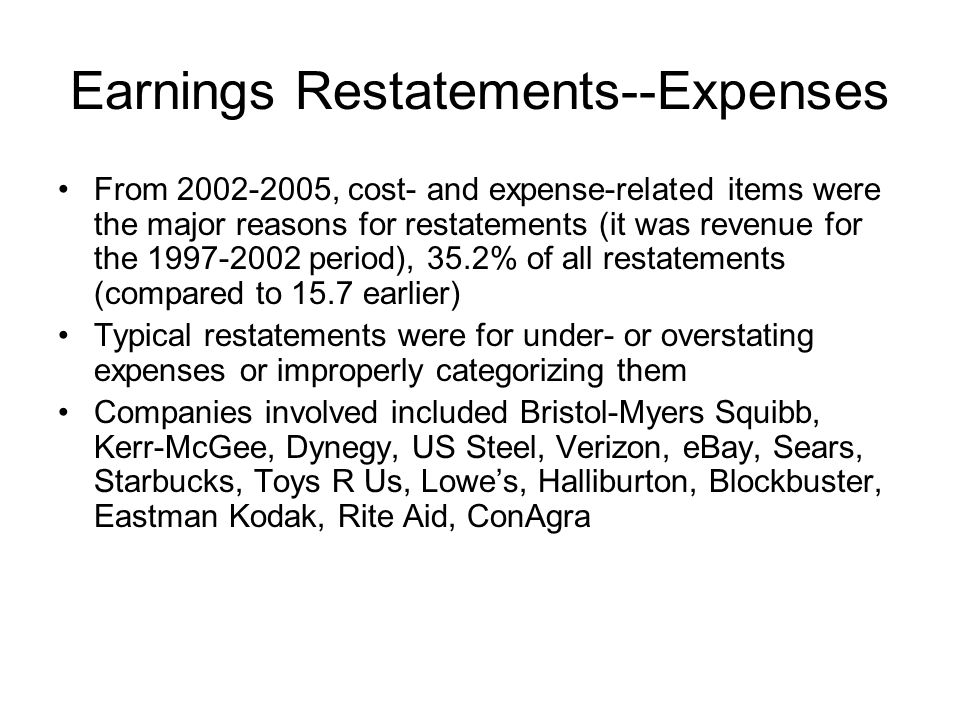 Earnings Restatements--Expenses From 2002-2005, cost- and expense-related items were the major reasons for restatements (it was revenue for the 1997-2
