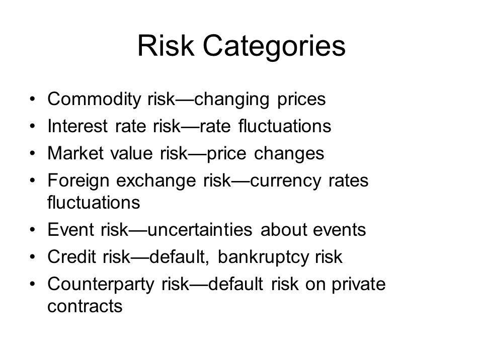 Risk Categories Commodity riskchanging prices Interest rate riskrate fluctuations Market value riskprice changes Foreign exchange riskcurrency rates f