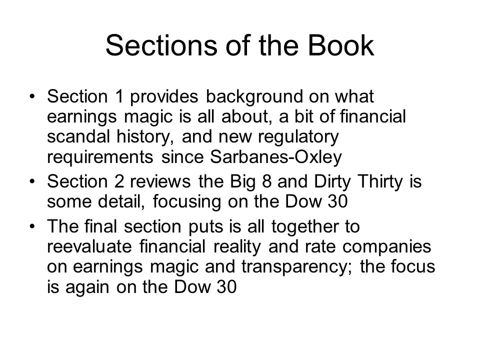 Institutional Signals of Earnings Magic Environment Strong CEO (who is also chairman of the board) with substantial perks Board made up primarily of insiders Poor board committee structure, especially audit committee Audit problems, including non-audit fees Executive compensation problems, including huge (& poorly structured) incentives packages Investment banking problems, including non- independent analysts