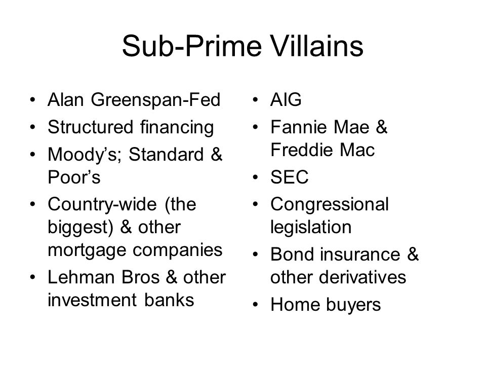 Sub-Prime Villains Alan Greenspan-Fed Structured financing Moodys; Standard & Poors Country-wide (the biggest) & other mortgage companies Lehman Bros