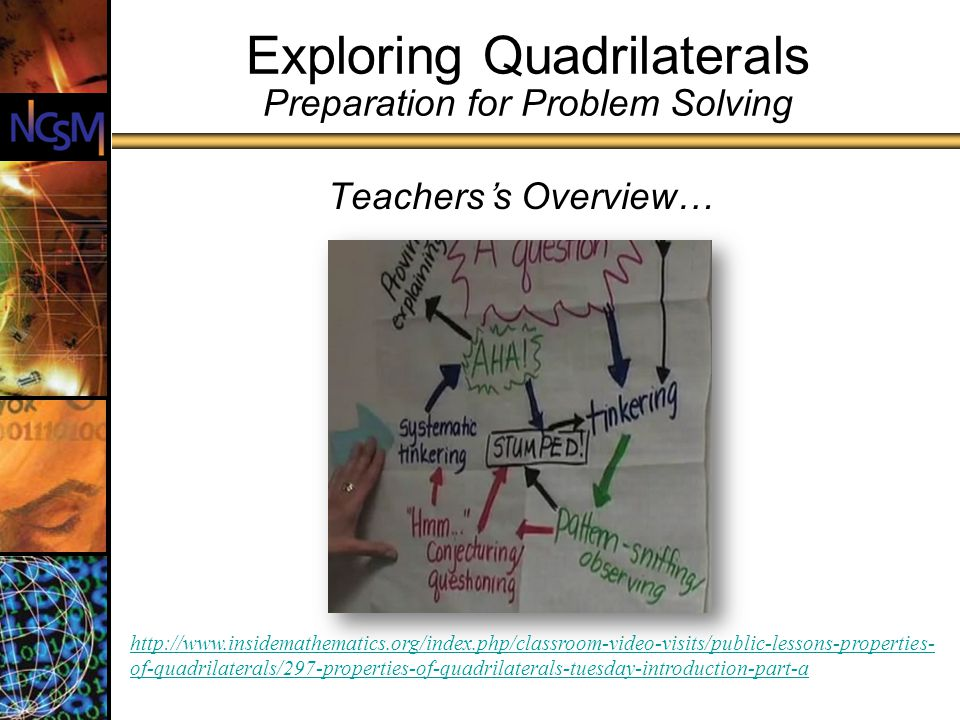 Exploring Quadrilaterals Preparation for Problem Solving Teacherss Overview… http://www.insidemathematics.org/index.php/classroom-video-visits/public-lessons-properties- of-quadrilaterals/297-properties-of-quadrilaterals-tuesday-introduction-part-a