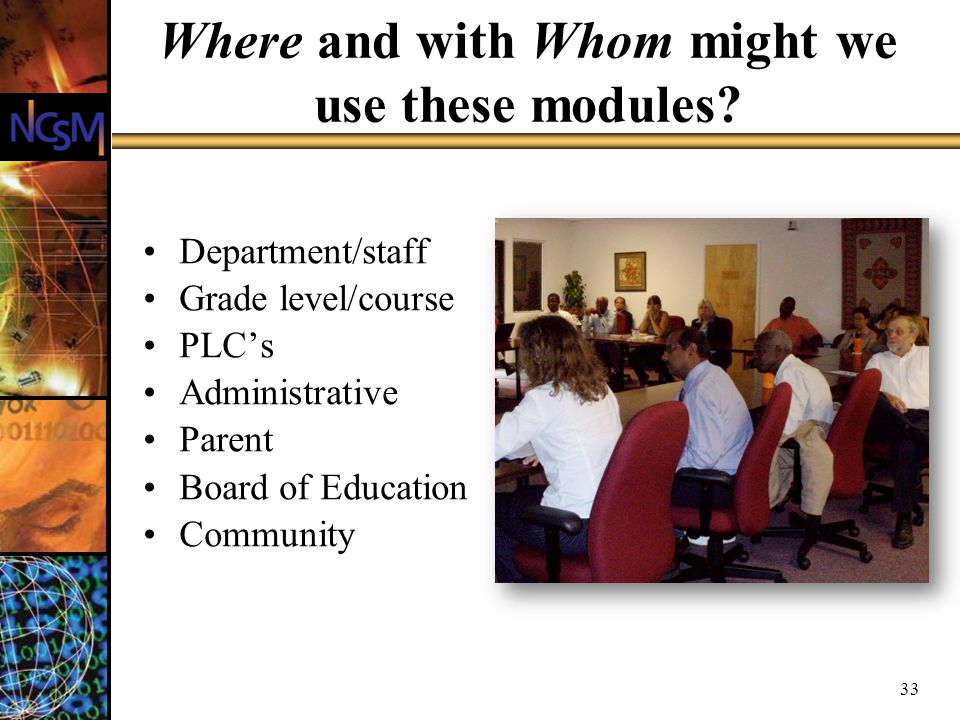 Where and with Whom might we use these modules.