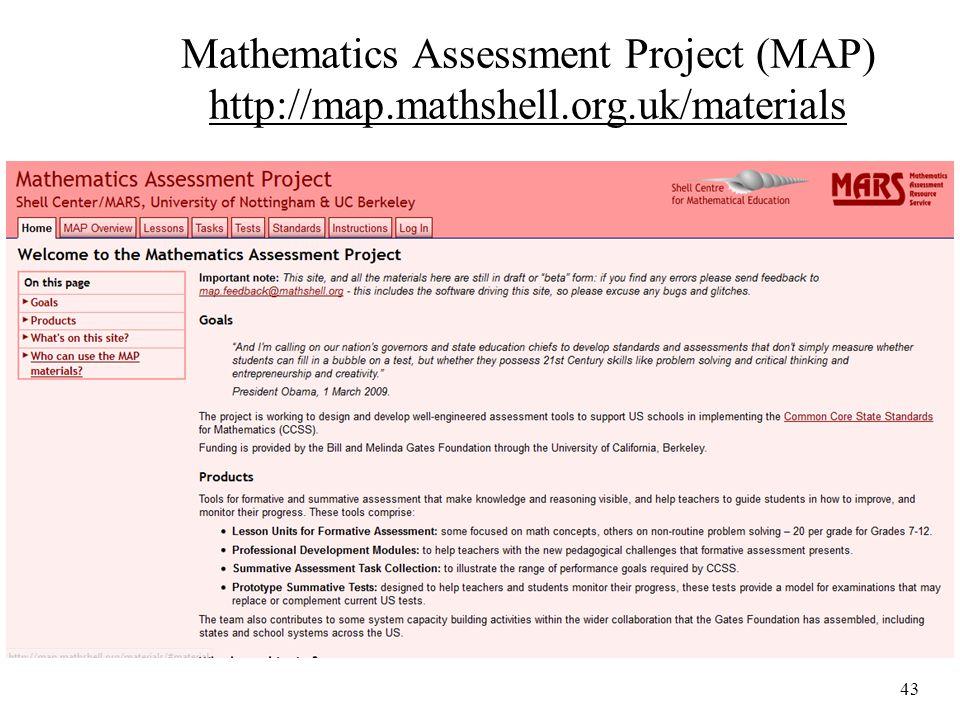 Mathematics Assessment Project (MAP) http://map.mathshell.org.uk/materials 43