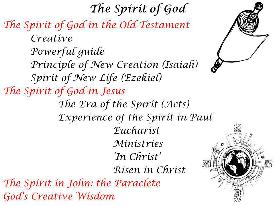 The Spirit of God The Spirit of God in the Old Testament Creative Powerful guide Principle of New Creation (Isaiah) Spirit of New Life (Ezekiel) The Spirit of God in Jesus The Era of the Spirit (Acts) Experience of the Spirit in Paul Eucharist Ministries In Christ Risen in Christ The Spirit in John: the Paraclete Gods Creative Wisdom