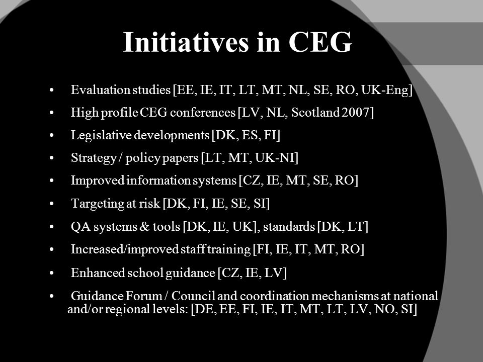 Initiatives in CEG Evaluation studies [EE, IE, IT, LT, MT, NL, SE, RO, UK-Eng] High profile CEG conferences [LV, NL, Scotland 2007] Legislative developments [DK, ES, FI] Strategy / policy papers [LT, MT, UK-NI] Improved information systems [CZ, IE, MT, SE, RO] Targeting at risk [DK, FI, IE, SE, SI] QA systems & tools [DK, IE, UK], standards [DK, LT] Increased/improved staff training [FI, IE, IT, MT, RO] Enhanced school guidance [CZ, IE, LV] Guidance Forum / Council and coordination mechanisms at national and/or regional levels: [DE, EE, FI, IE, IT, MT, LT, LV, NO, SI]