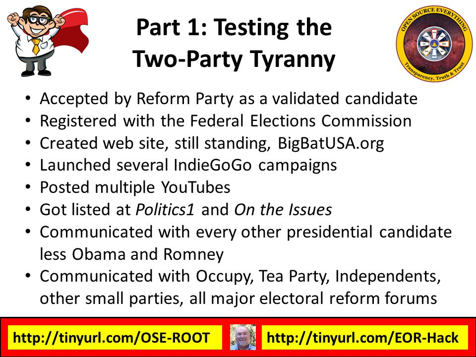http://tinyurl.com/OSE-ROOThttp://tinyurl.com/EOR-Hack All three branches of the federal government are completely corrupt – do not represent We Time to abolish the existing government controlled by the two-party tyranny of treason States should threaten secession and demand a Constitutional Convention…but first we have to cleanse each STATE of its local two-party tyranny We need to rebuild the USA from the bottom-up, at Human Scale, with integral resilience, which is to say, true deep independence from any external authority.Human Scale Secession, Nullification, and/or a Second Republic