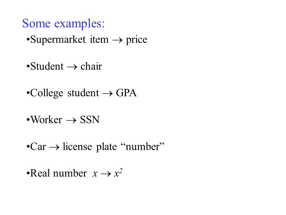 Some examples: Supermarket item price Student chair College student GPA Worker SSN Car license plate number Real number x x 2
