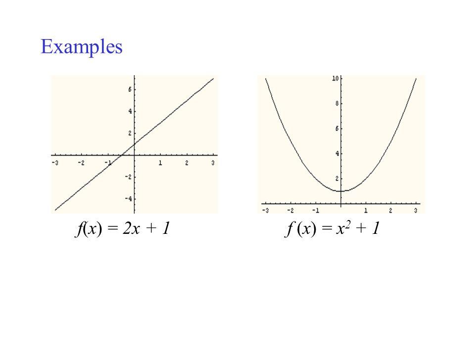 Examples f(x) = 2x + 1 f (x) = x 2 + 1