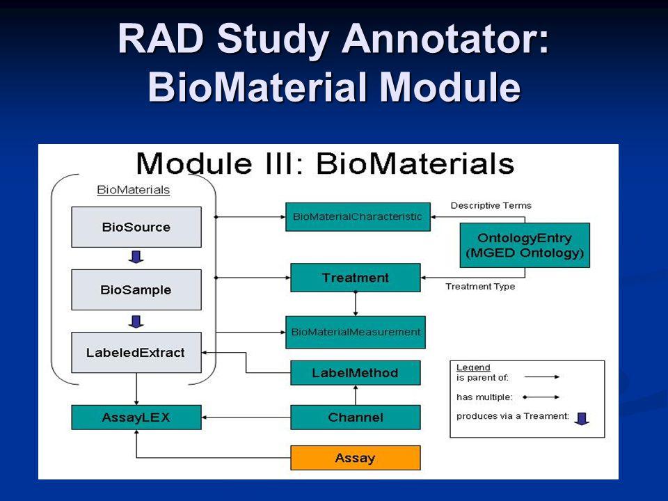 RAD Study Annotator: BioMaterial Module