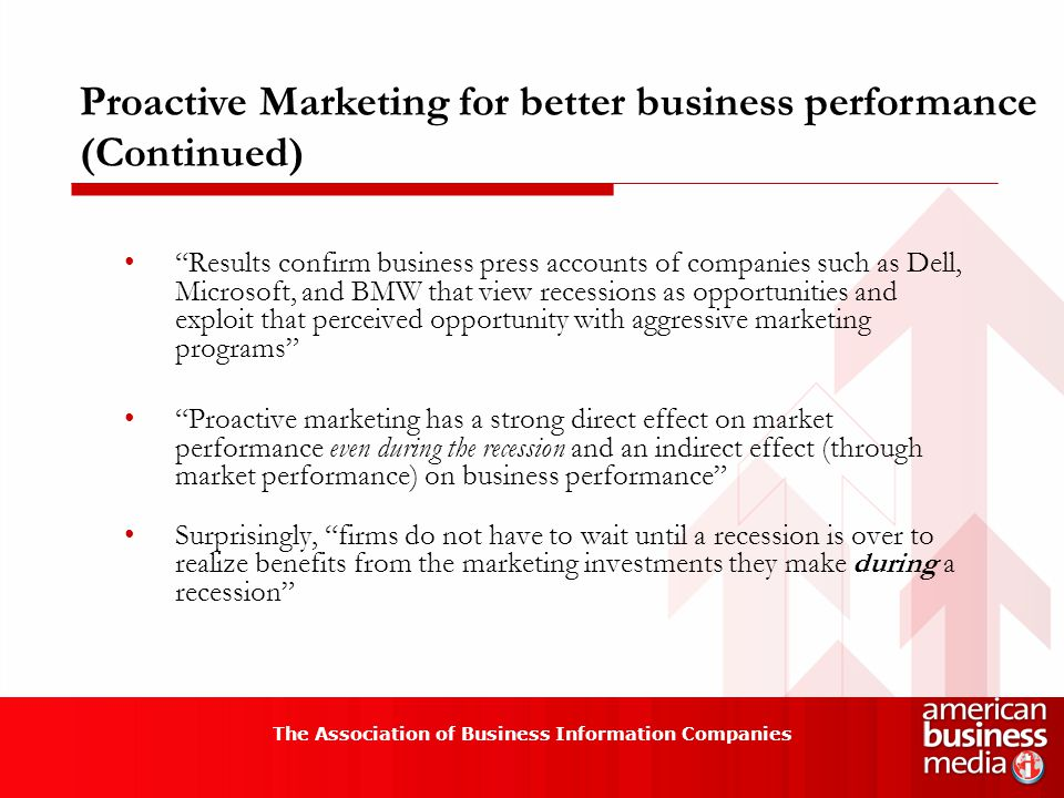 The Association of Business Information Companies Proactive Marketing for better business performance (Continued) Results confirm business press accounts of companies such as Dell, Microsoft, and BMW that view recessions as opportunities and exploit that perceived opportunity with aggressive marketing programs Proactive marketing has a strong direct effect on market performance even during the recession and an indirect effect (through market performance) on business performance Surprisingly, firms do not have to wait until a recession is over to realize benefits from the marketing investments they make during a recession