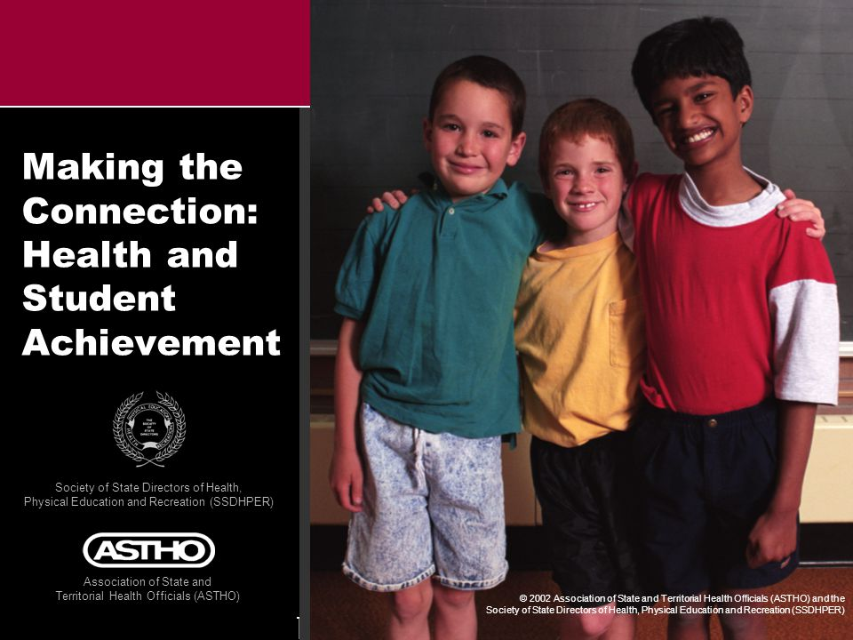 M A K I N G T H E C O N N E C T I O N : H E A L T H A N D S T U D E N T A C H I E V E M E N TA S T H O S S D H P E R © 2 0 0 2 Coordinated school health programs are a solution l Engage parents, teachers, students, families, and communities l Help keep students healthy l Support learning and success in school l Reinforce positive behaviors l Help students develop knowledge and skills to make smart choices