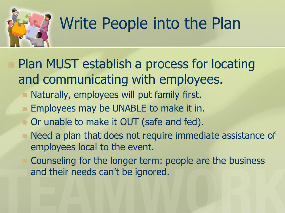 Write People into the Plan Plan MUST establish a process for locating and communicating with employees. Naturally, employees will put family first. Em