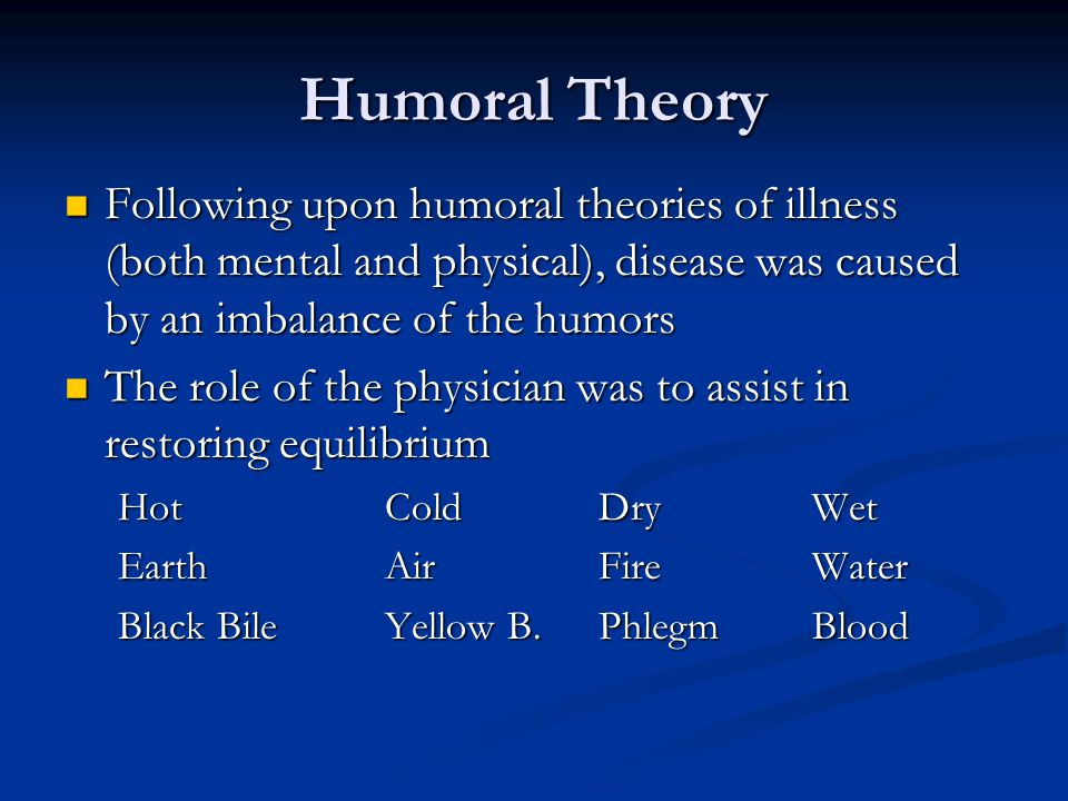 Humoral Theory Following upon humoral theories of illness (both mental and physical), disease was caused by an imbalance of the humors Following upon humoral theories of illness (both mental and physical), disease was caused by an imbalance of the humors The role of the physician was to assist in restoring equilibrium The role of the physician was to assist in restoring equilibrium HotColdDryWet EarthAirFireWater Black BileYellow B.PhlegmBlood
