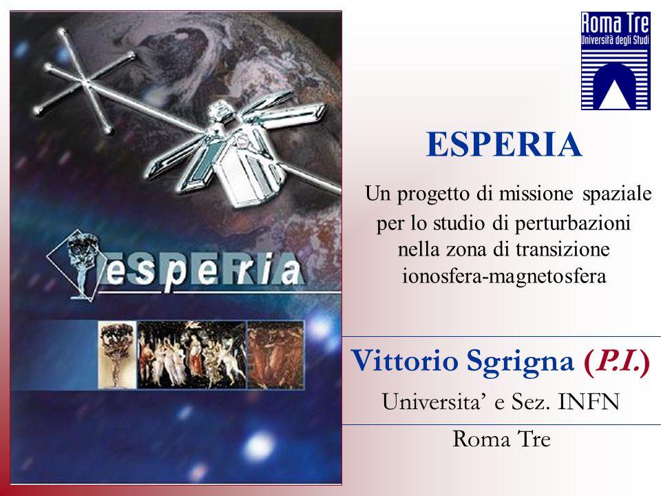 Vittorio Sgrigna (P.I.) Universita e Sez. INFN Roma Tre ESPERIA Un progetto di missione spaziale per lo studio di perturbazioni nella zona di transizi