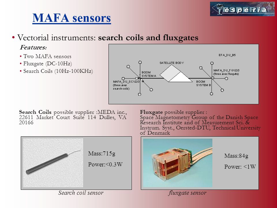 Vectorial instruments: search coils and fluxgates Two MAFA sensors Fluxgate (DC-10Hz) Search Coils (10Hz-100KHz) Fluxgate possible supplier : Space Magnetometry Group of the Danish Space Research Institute and of Measurement Sci.