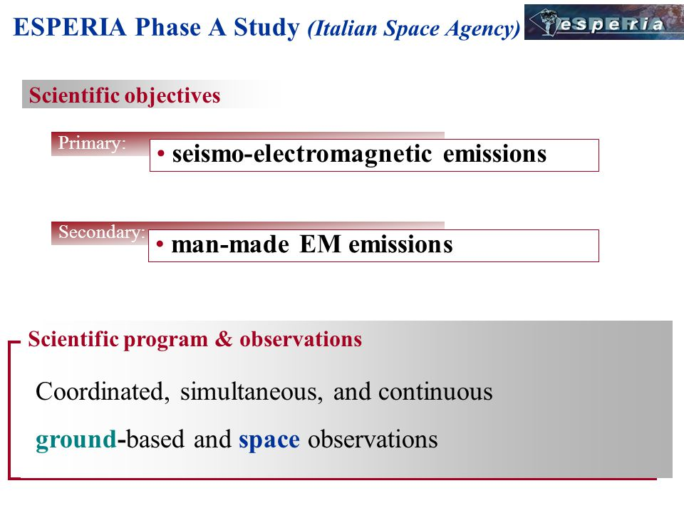 Scientific program & observations Coordinated, simultaneous, and continuous ground-based and space observations Scientific objectives Primary: seismo-electromagnetic emissions ESPERIA Phase A Study (Italian Space Agency) Secondary: man-made EM emissions