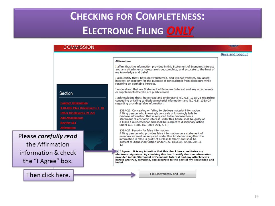 ONLY C HECKING FOR C OMPLETENESS : E LECTRONIC F ILING ONLY Then click here.