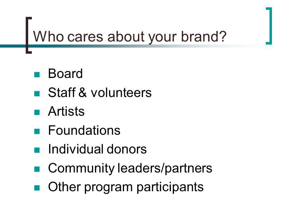 Who cares about your brand.