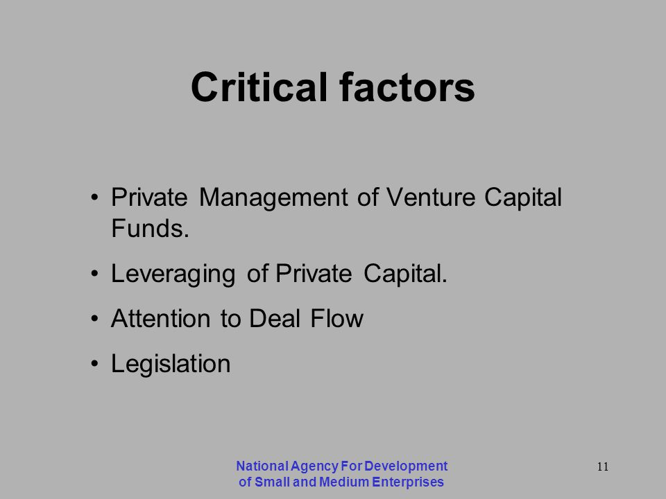 National Agency For Development of Small and Medium Enterprises 11 Critical factors Private Management of Venture Capital Funds.