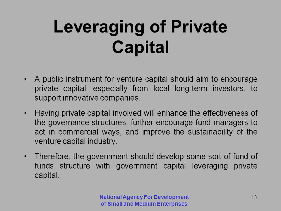 National Agency For Development of Small and Medium Enterprises 13 Leveraging of Private Capital A public instrument for venture capital should aim to encourage private capital, especially from local long-term investors, to support innovative companies.