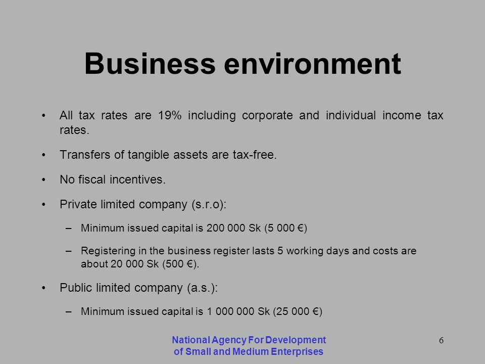 National Agency For Development of Small and Medium Enterprises 6 Business environment All tax rates are 19% including corporate and individual income tax rates.