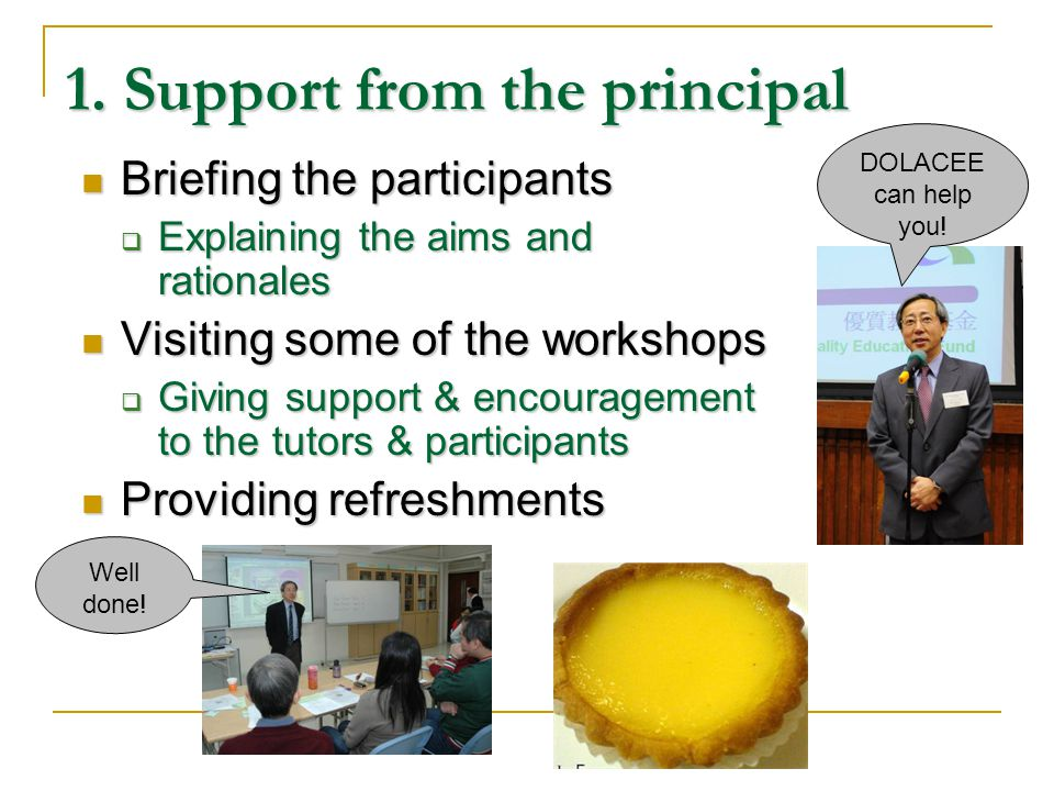 1. Support from the principal Briefing the participants Briefing the participants Explaining the aims and rationales Explaining the aims and rationale