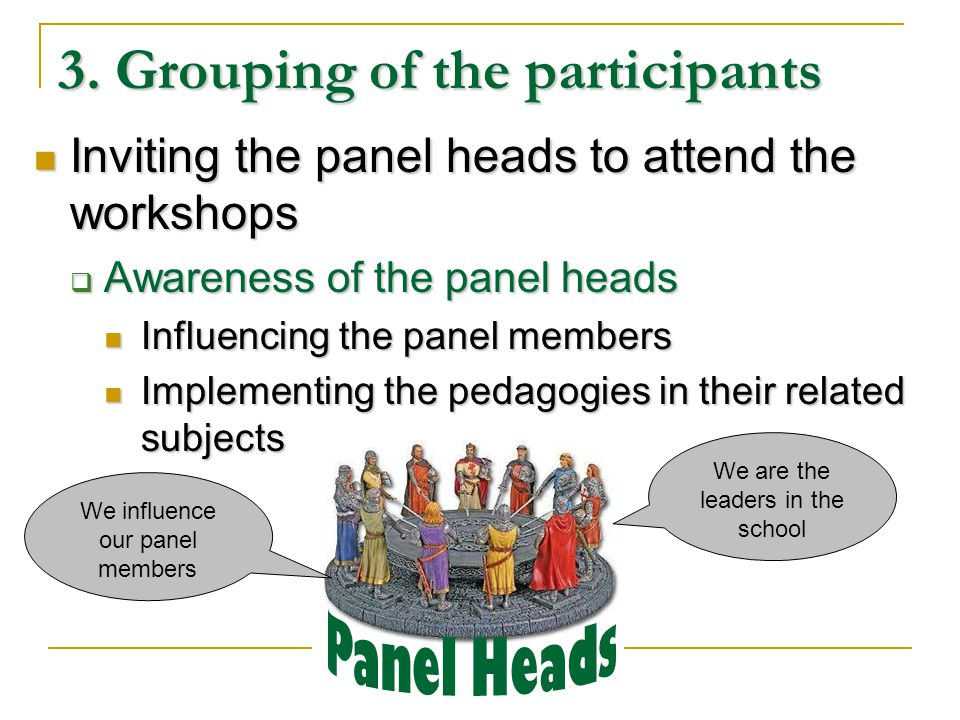 3. Grouping of the participants Inviting the panel heads to attend the workshops Inviting the panel heads to attend the workshops Awareness of the pan