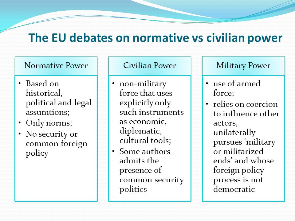 The EU debates on normative vs civilian power Normative Power Based on historical, political and legal assumtions; Only norms; No security or common f
